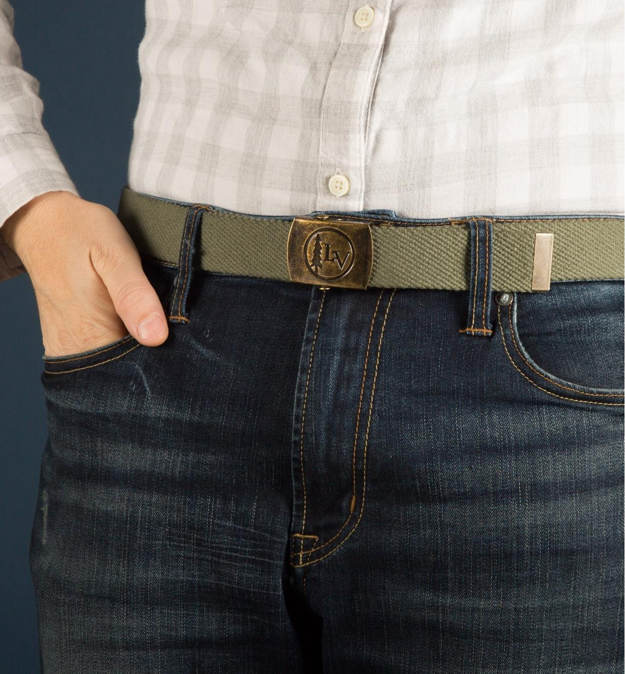 Green Lee Valley Belt worn with a pair of jeans