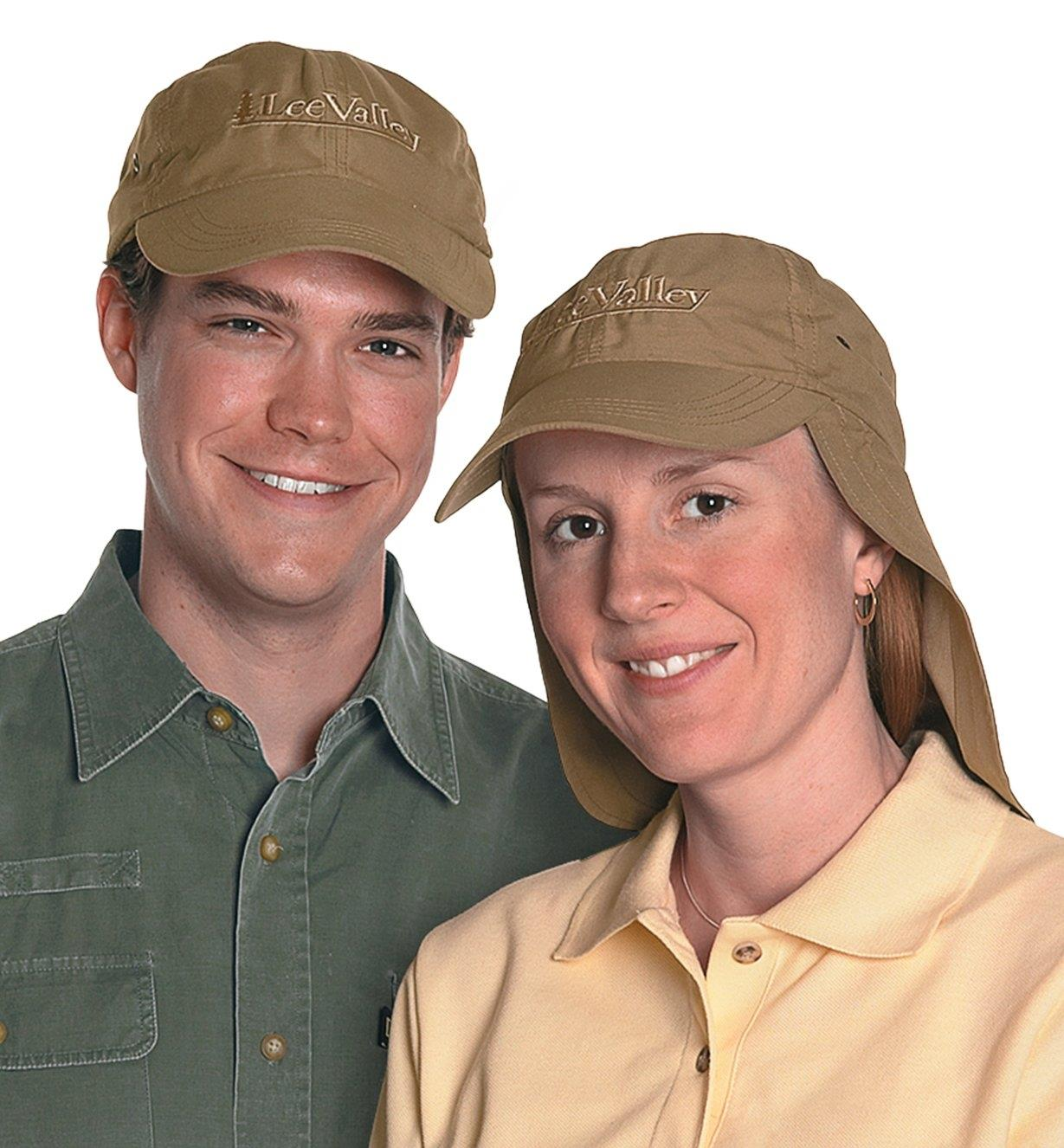 A man and a woman wearing the Lee Valley Sun Cap
