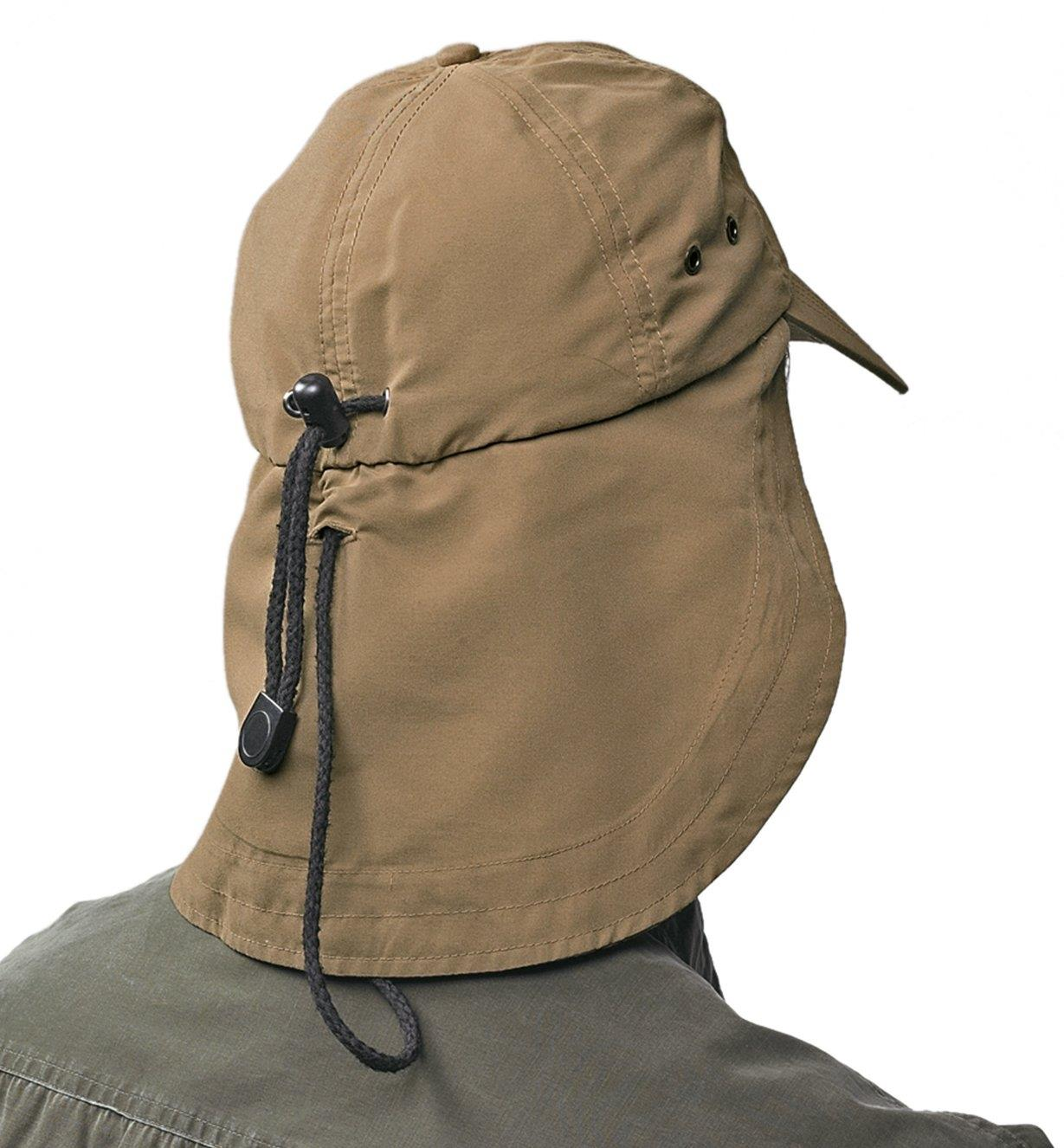 Back view of the Lee Valley Sun Cap with the flap down