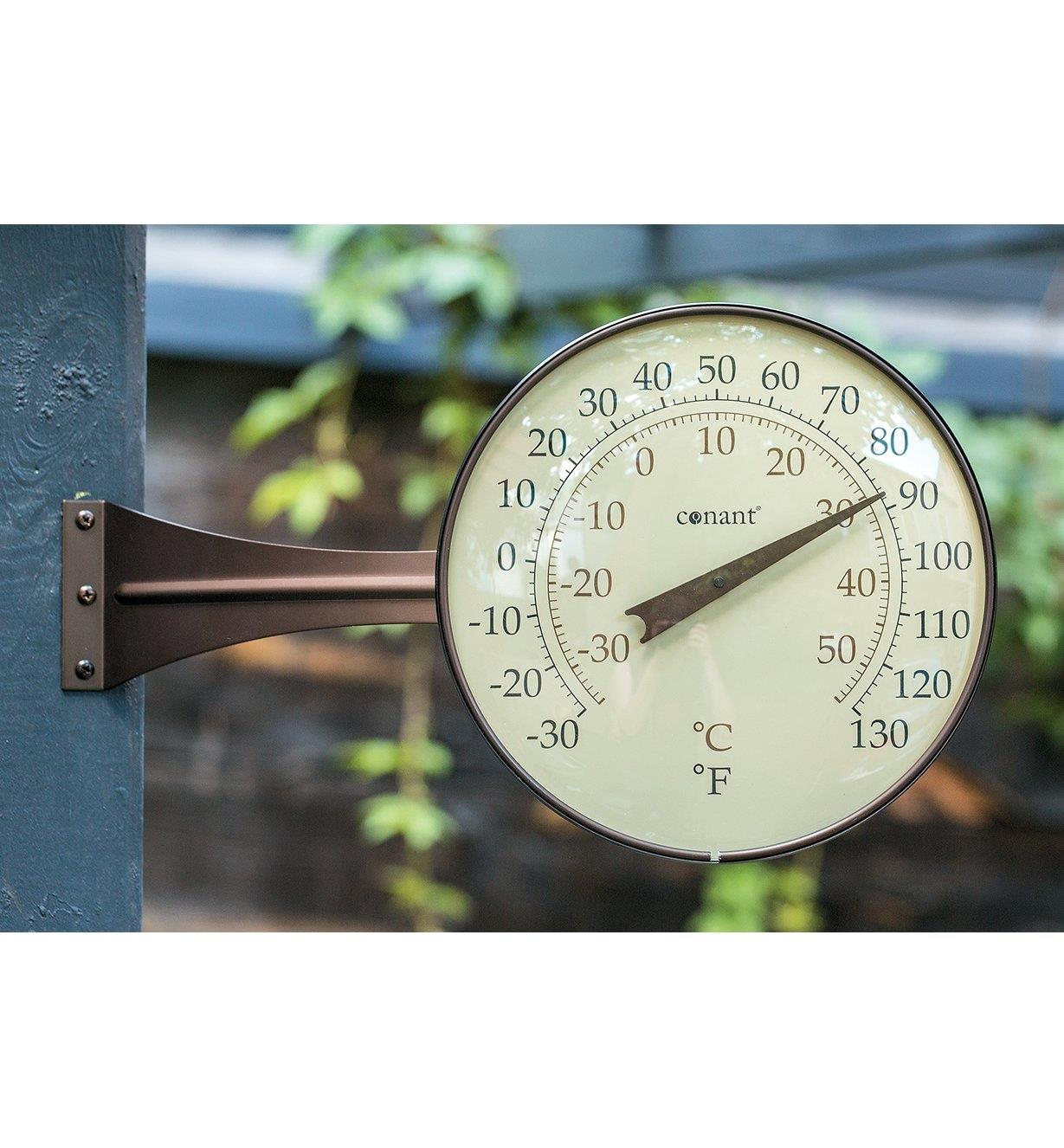 Large-Dial Thermometer mounted on an outdoor wall