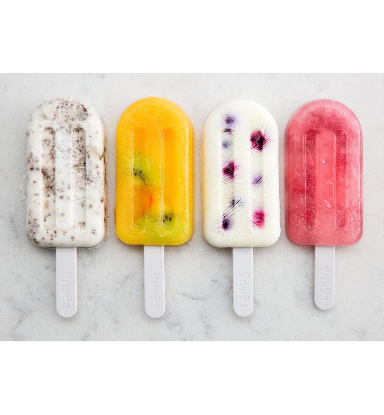Four examples of different ice pops made with the ice pop molds