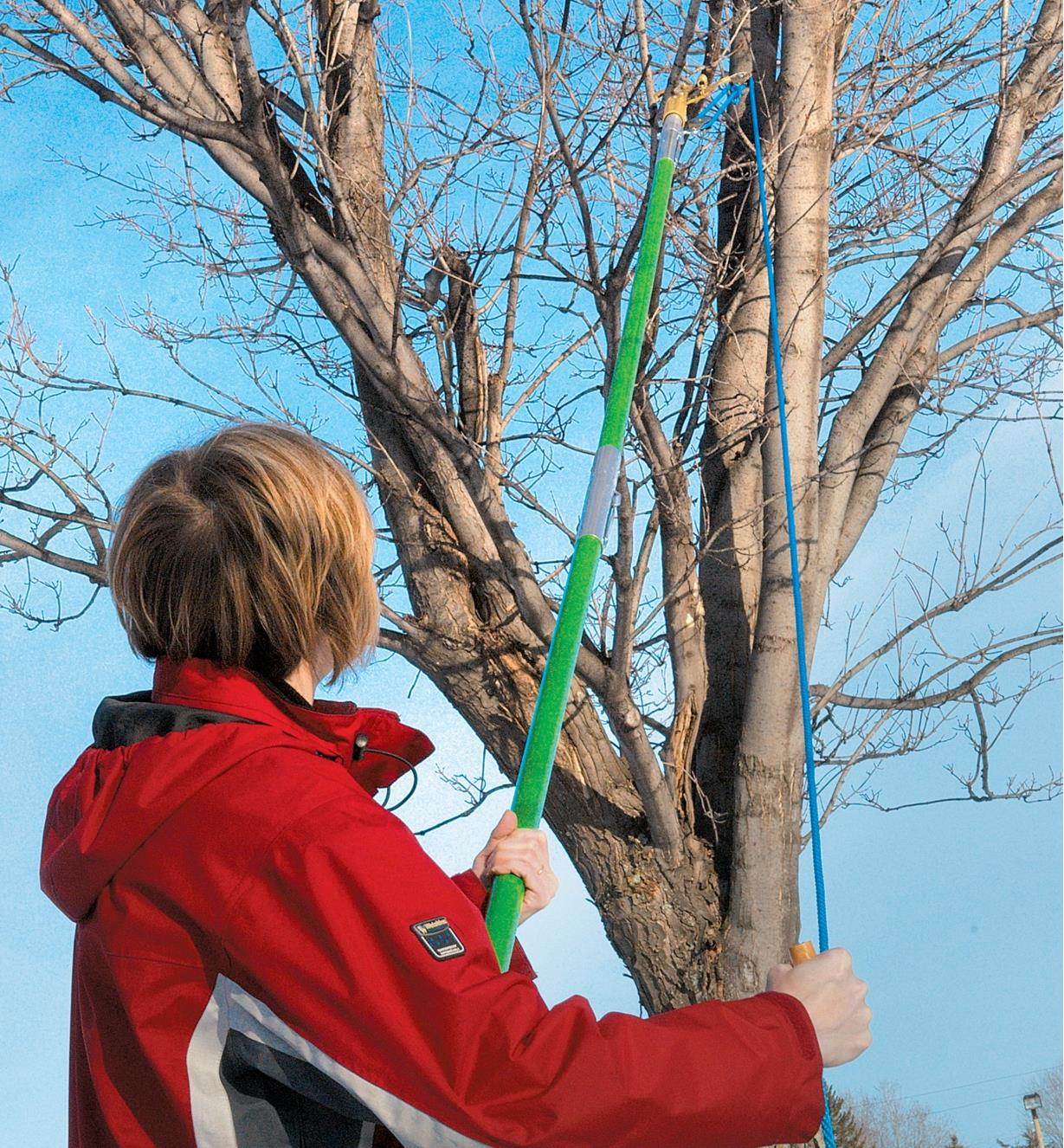 A woman standing on the ground uses the Tree-Pruning Kit to cut a high tree branch