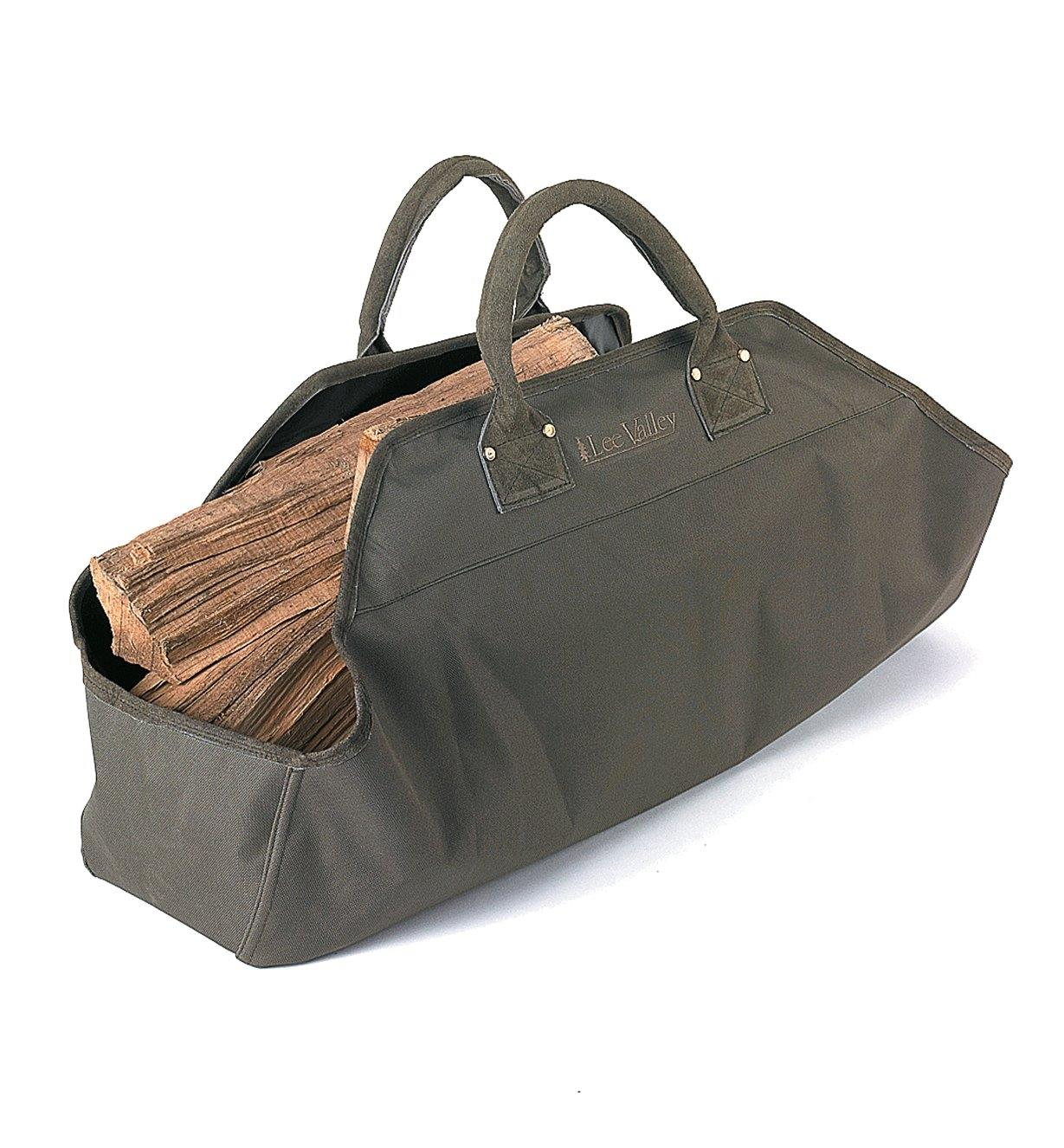 Lee Valley Firewood Tote filled with firewood