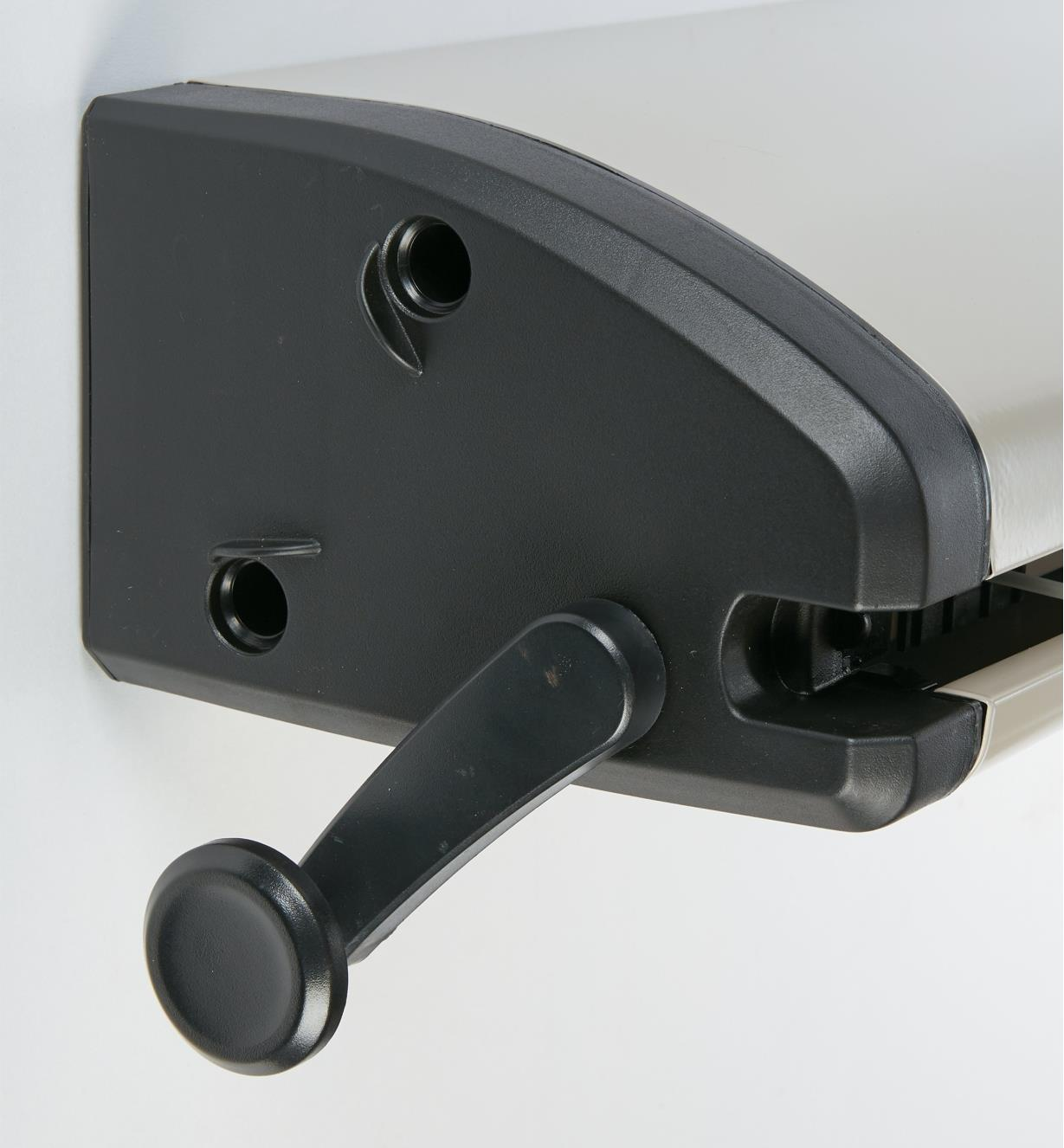 Close-up of tension lever