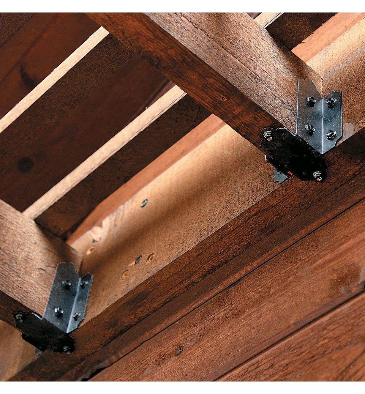 Example of Joist Hangers installed in an outdoor structure