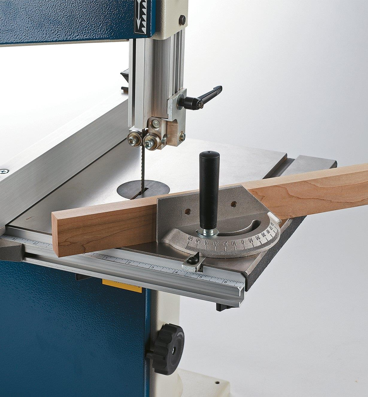 """Miter gauge in use with the Rikon 10"""" benchtop bandsaw"""