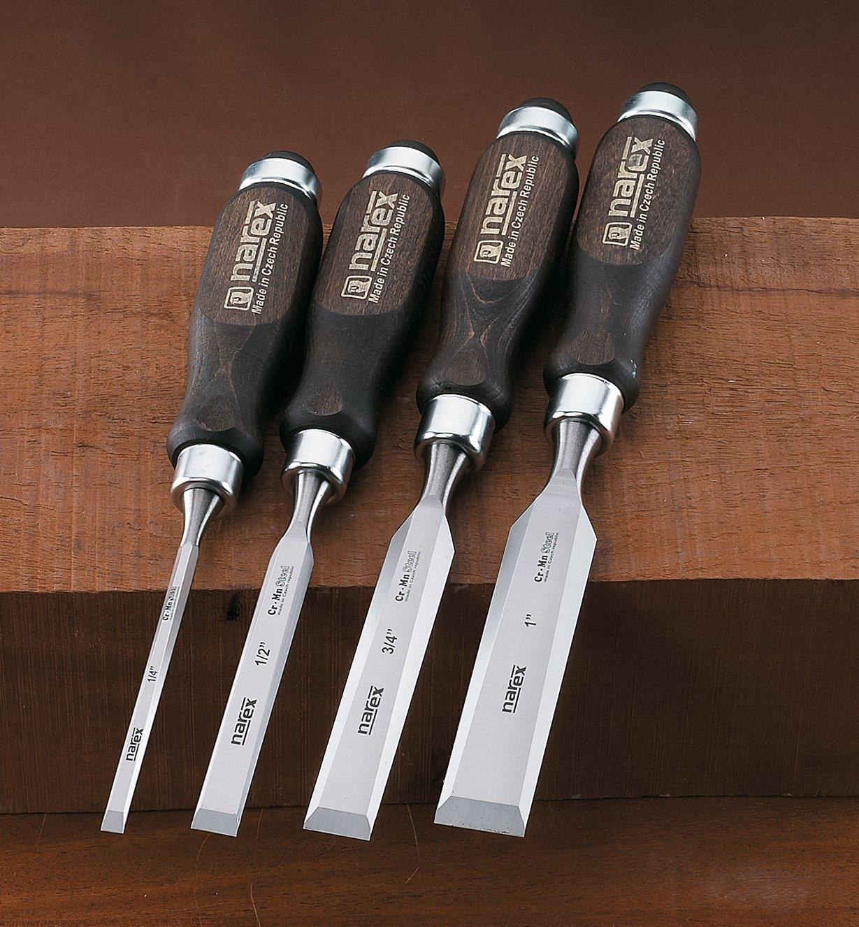 "10S0976 - Narex Classic Bevel-Edge Chisels, Set of 4 (1/4"", 1/2"", 3/4"", 1"")"