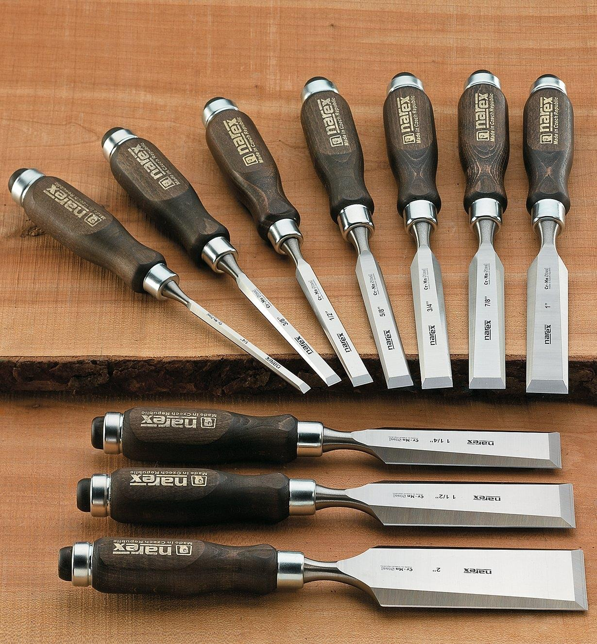 "Narex Classic Bevel-Edge Chisels, Set of 10 (1/4"" to 2"")"