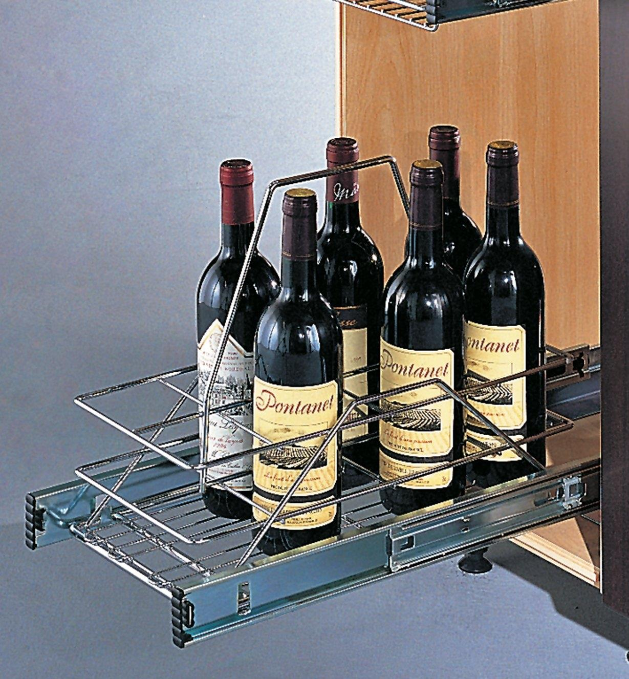 Basket Pullout mounted in a cupboard, holding bottles of wine