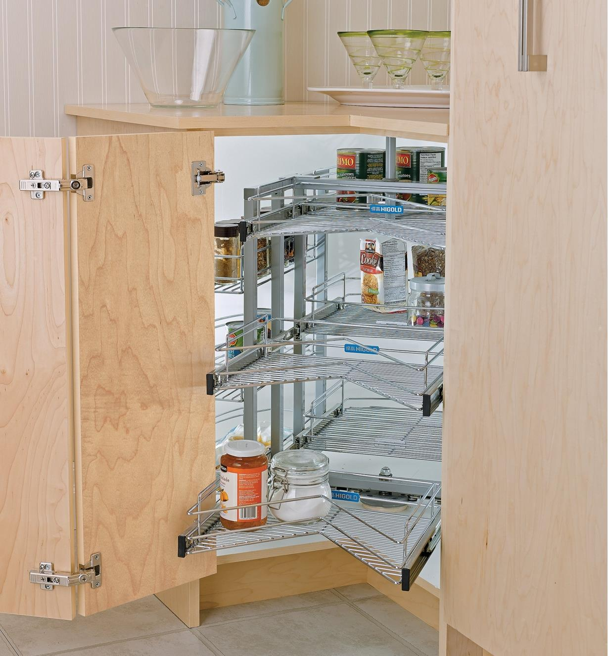 Pull-Out Corner Carousel installed in a cabinet, with the baskets pulled out