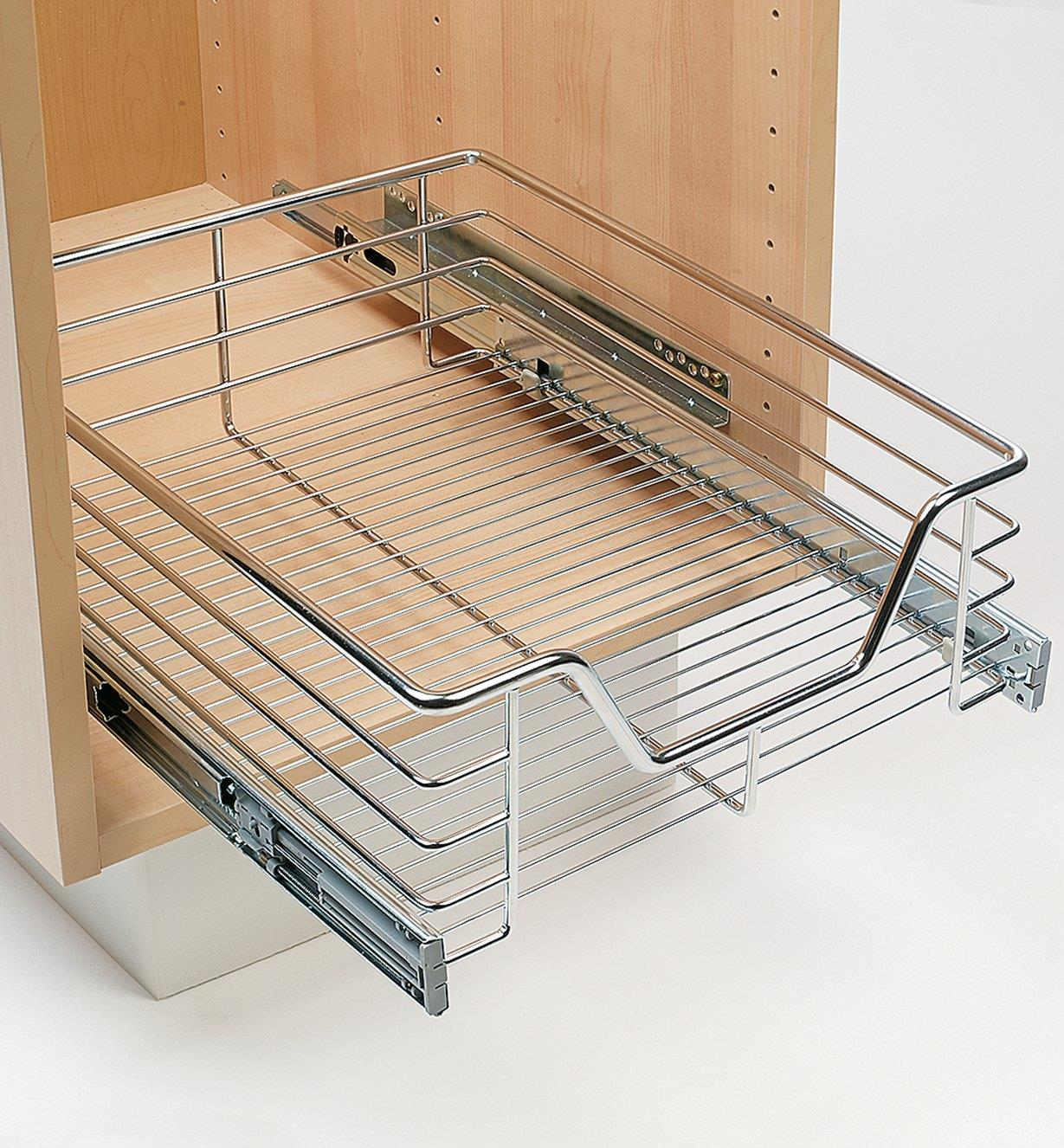 Pull-Out Wire Drawer installed in a cabinet