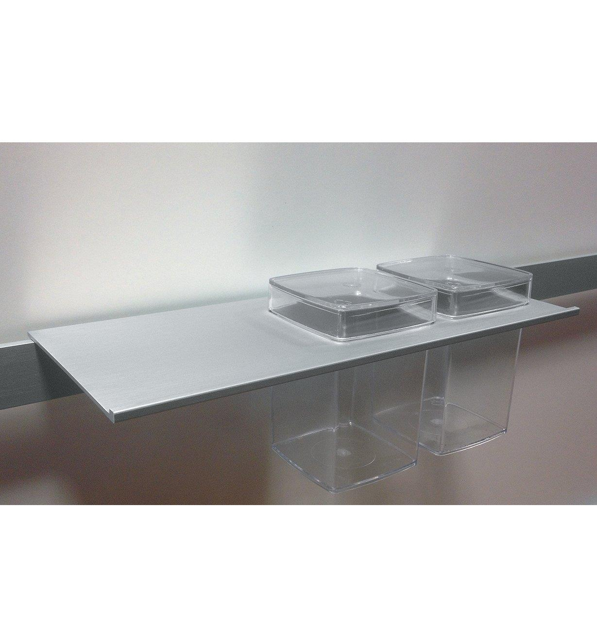 12K5122 - 30cm Rail-Mount Shelf with 2 Plastic Bins