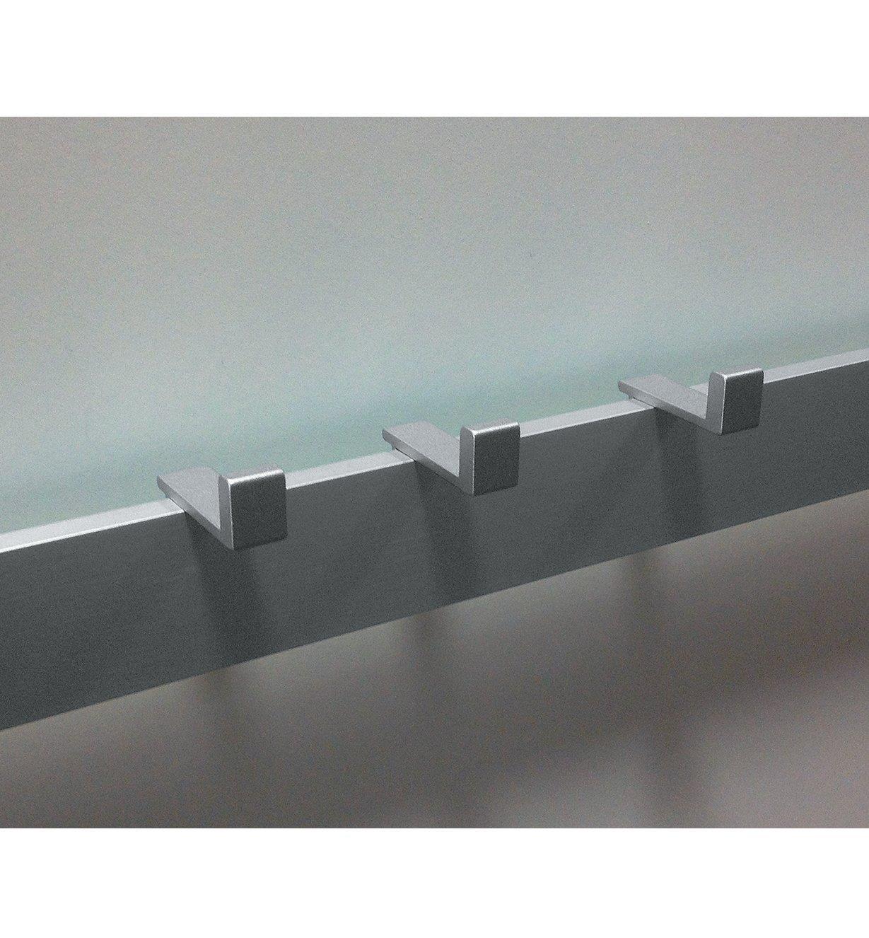 Three rail-mount hooks mounted on a rail on a wall