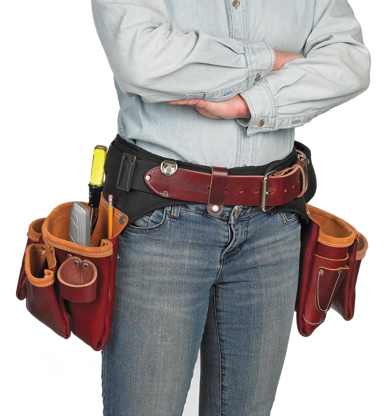 Front view of a person wearing an Adjust-to-Fit Pro Framer Set