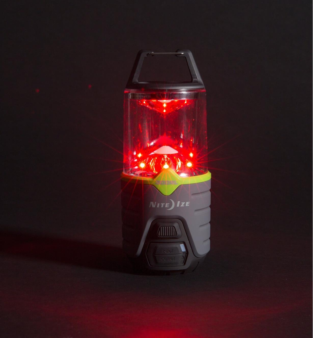 300 lm Nite Ize Rechargeable Radiant Lantern in red LED mode