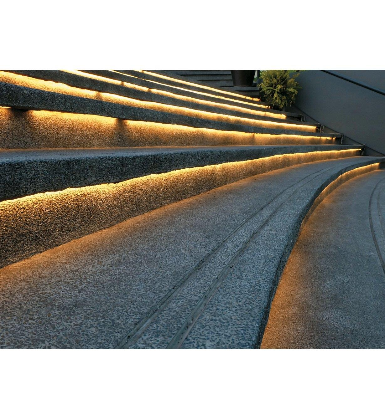 Example of LED lights installed under concrete steps