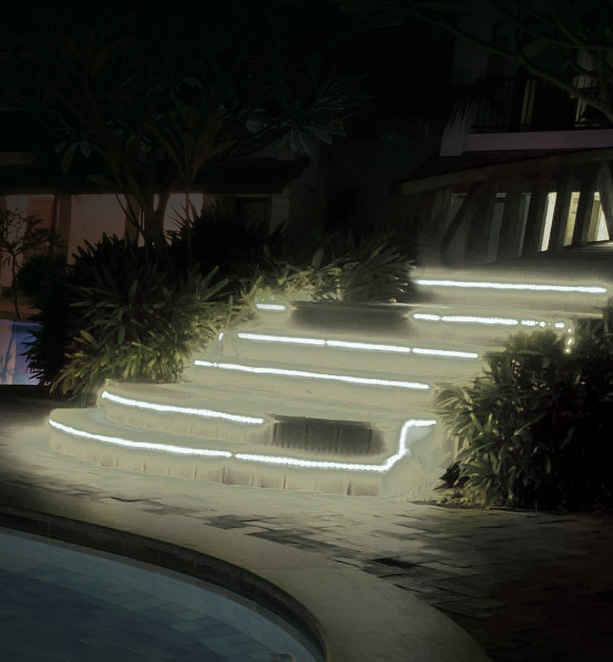 Example of white LED tape lighting installed on outdoor steps