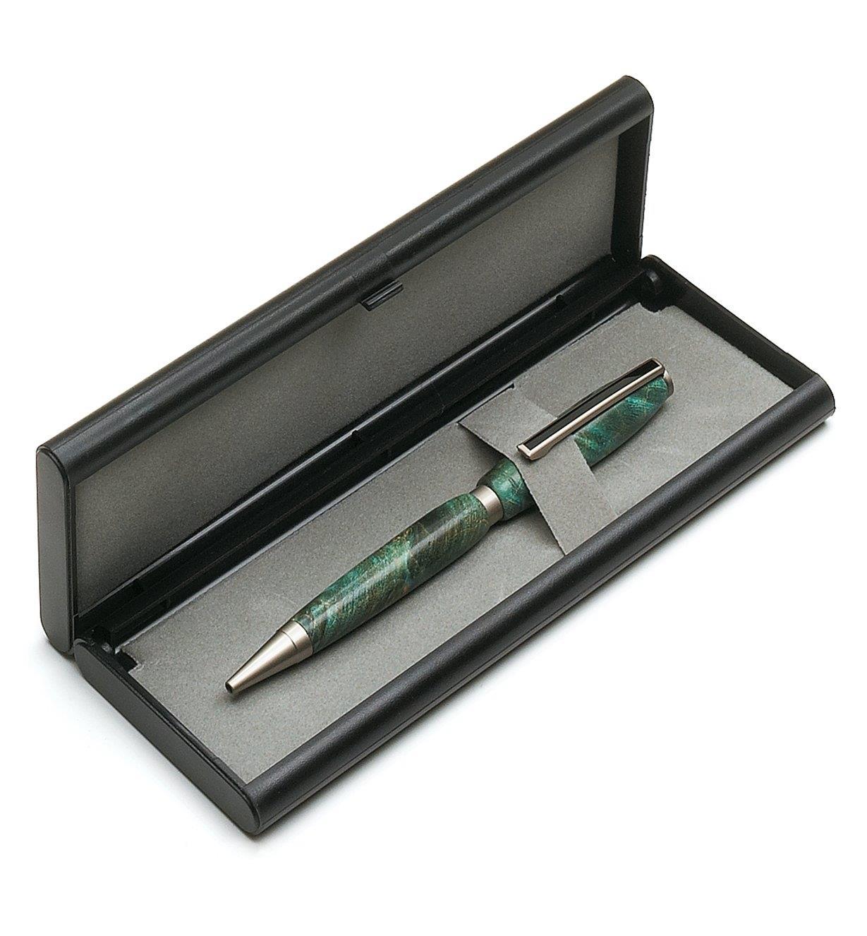 Plastic/felt case holding a wooden pen