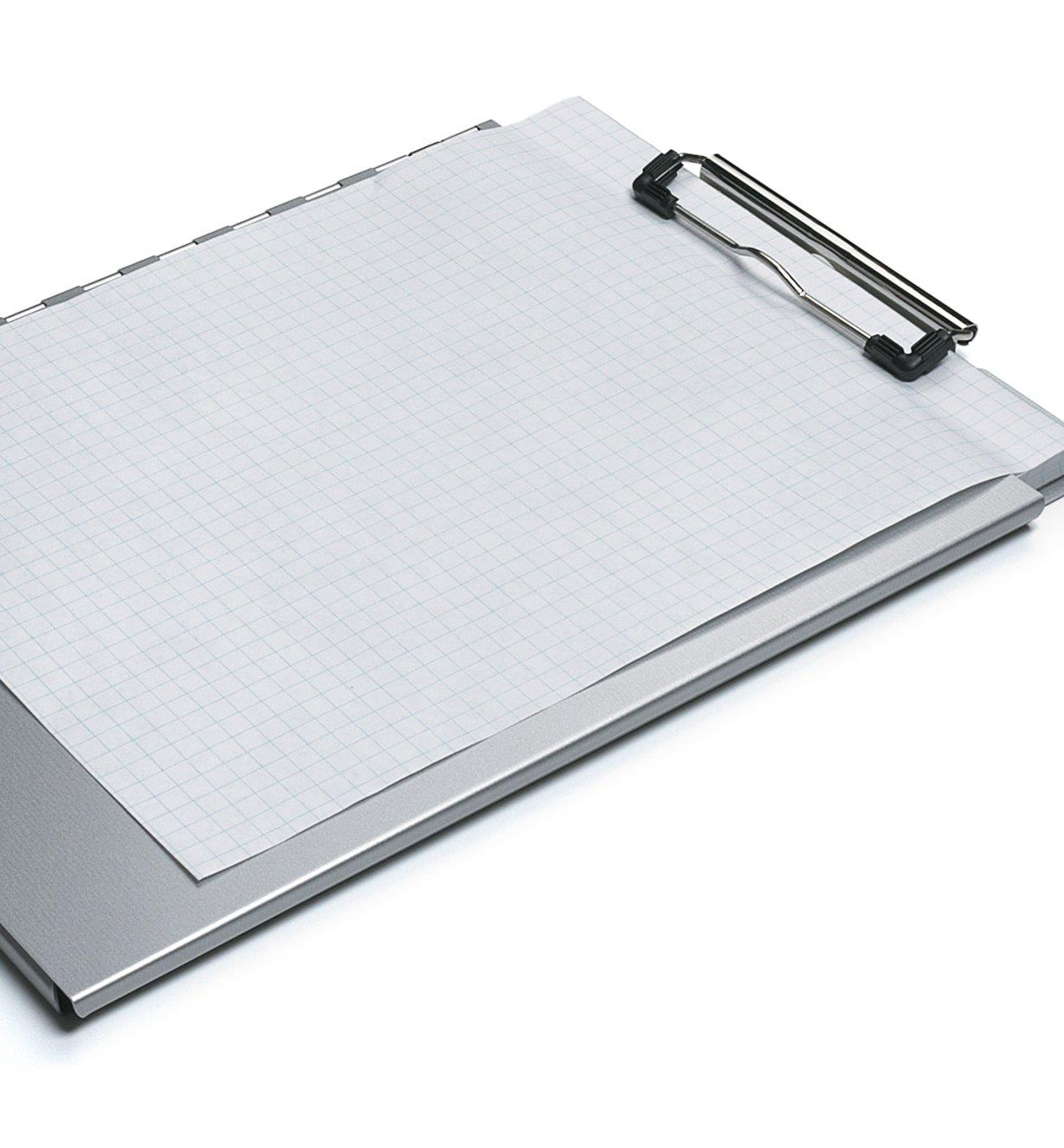 Portfolio Clipboard with pad of graph paper stored inside and single sheet outside