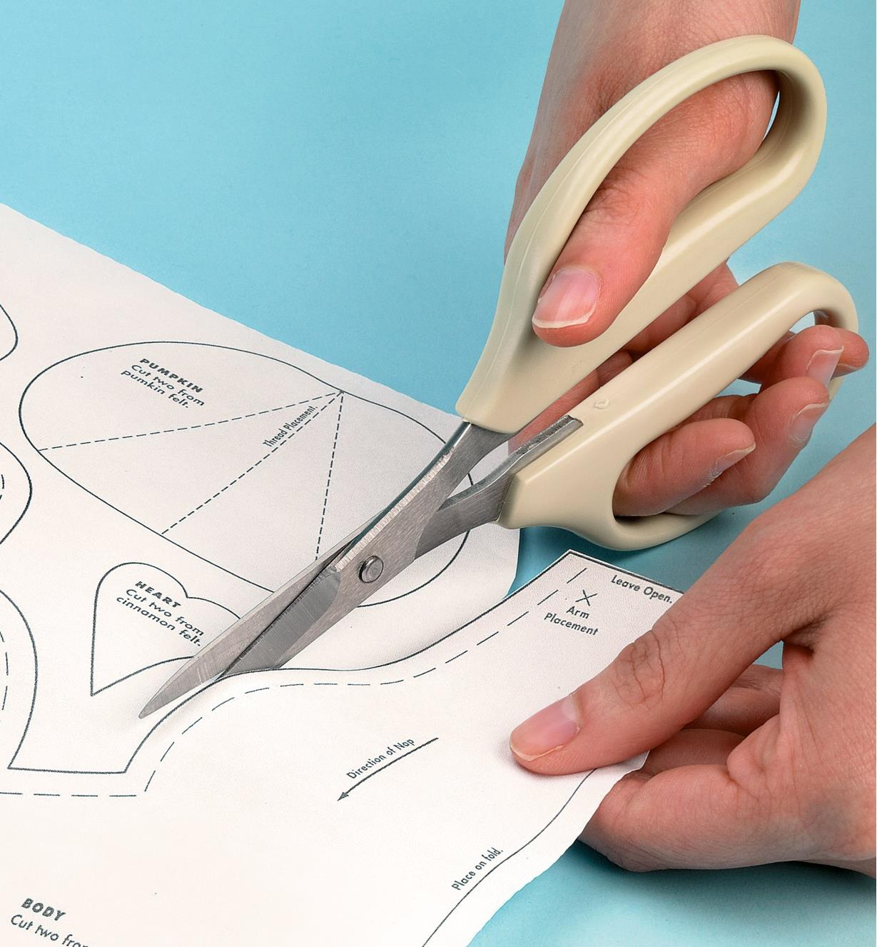 Cutting a sewing pattern with Precision Scissors