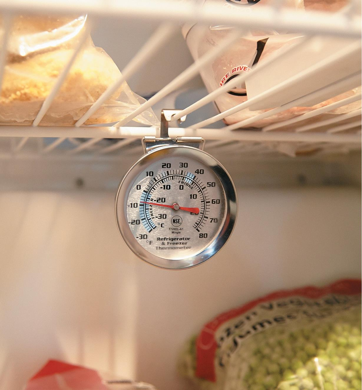 Refrigerator/Freezer Thermometer hanging by its hook from a wire shelf in a freezer