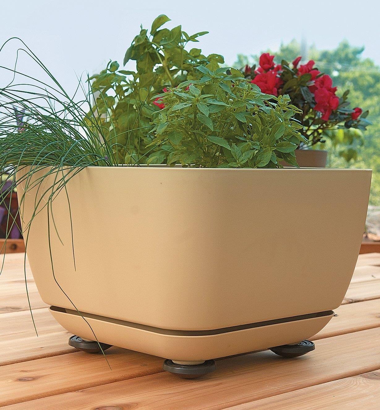 Four pot pads supporting a large planter on a wooden deck