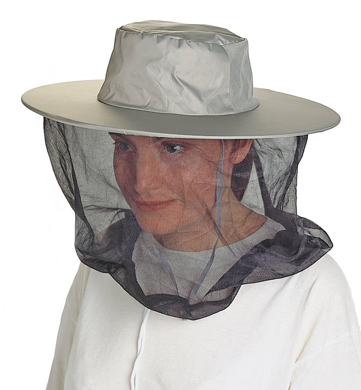 A woman wearing the Pocket Hat with the mosquito head net
