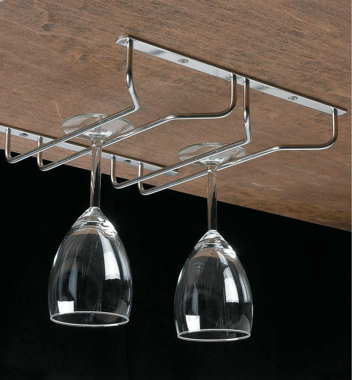 "Two wine glasses hanging on an installed 10 1/2"" Double Rack"