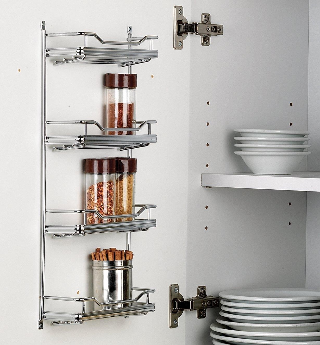 4-Shelf rack installed on a cupboard door