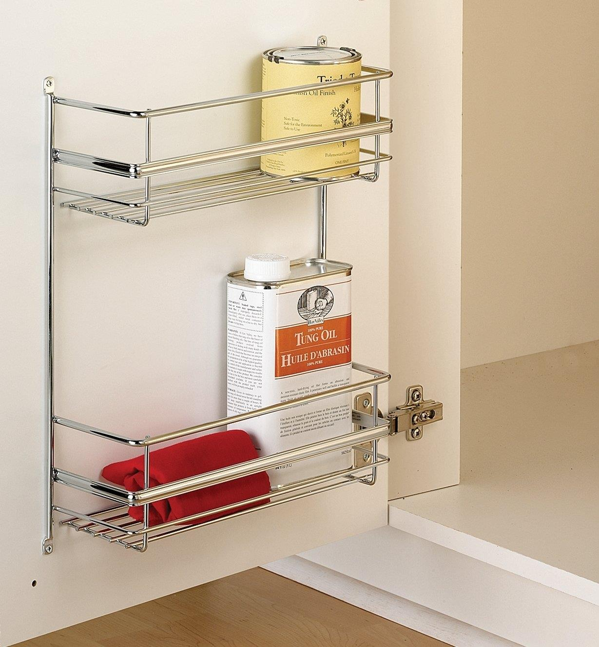 Double utility rack mounted on a cupboard door