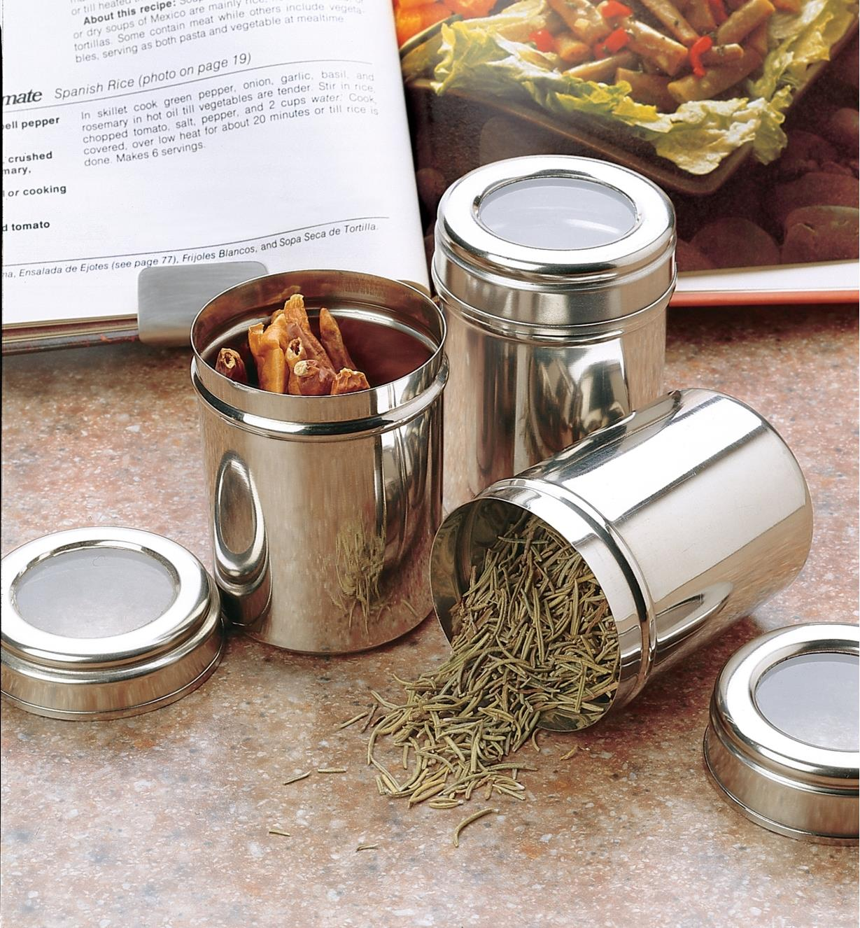 Three Large Canisters holding spices