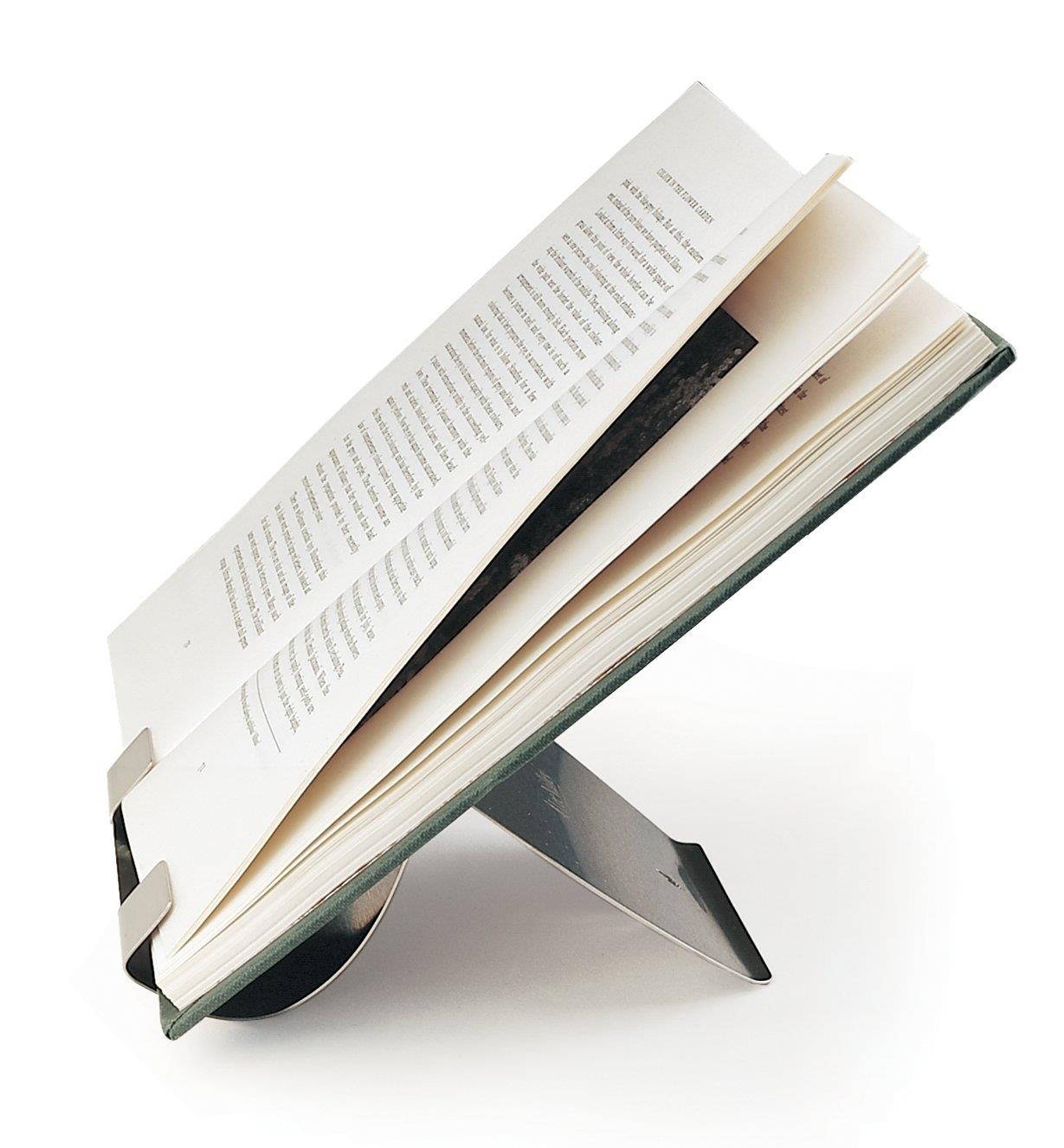 Stainless-Steel Book Holder holding a hardcover book