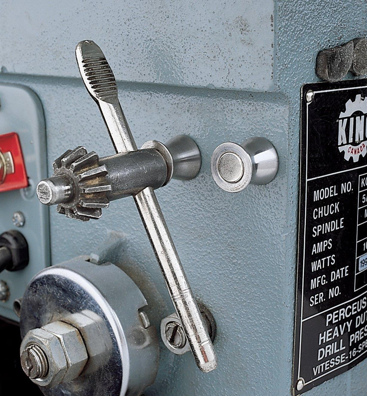 Magnetic Tool Holder holding a chuck key on a drill press