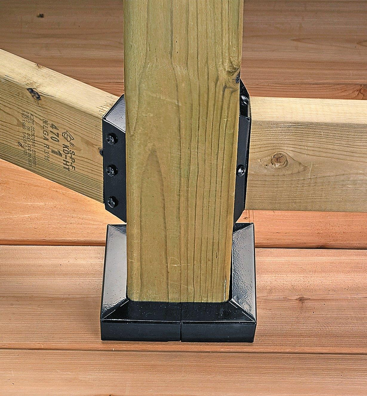 Deck post with anchor and skirt attached
