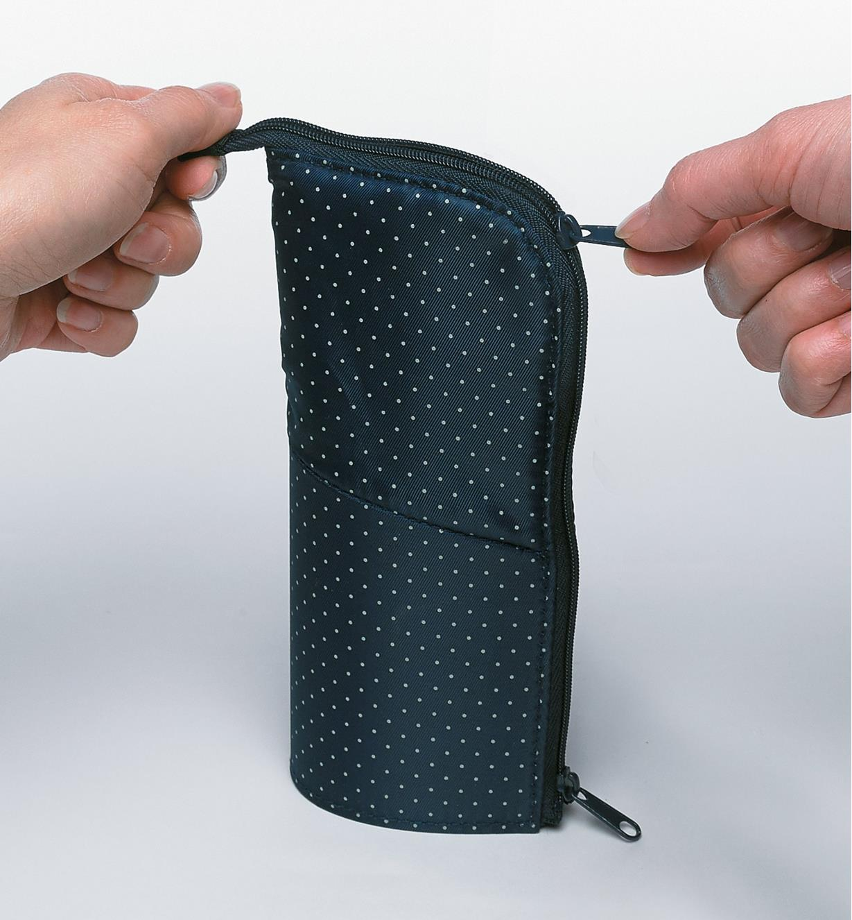 Stand-Up Pencil Case being zipped open