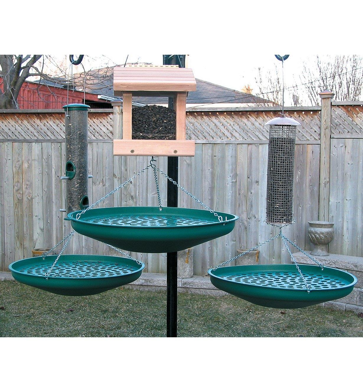 Three Seed Saucers hanging under a bird house and two tube feeders