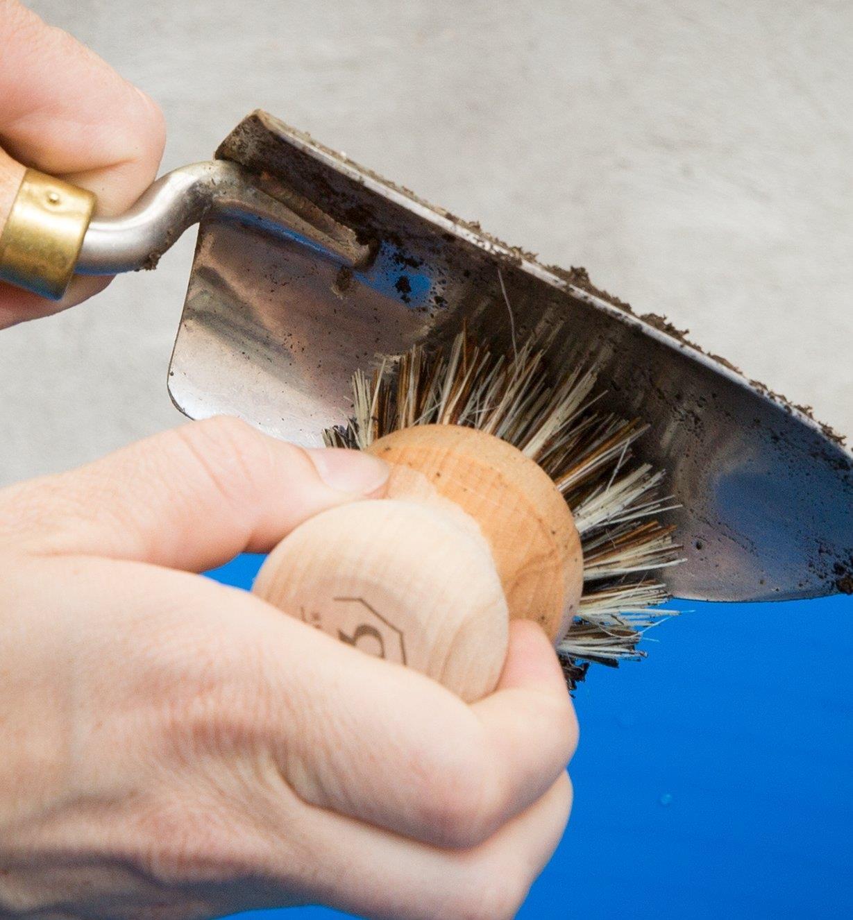 Personne nettoyant un transplantoir avec une brosse à récurer