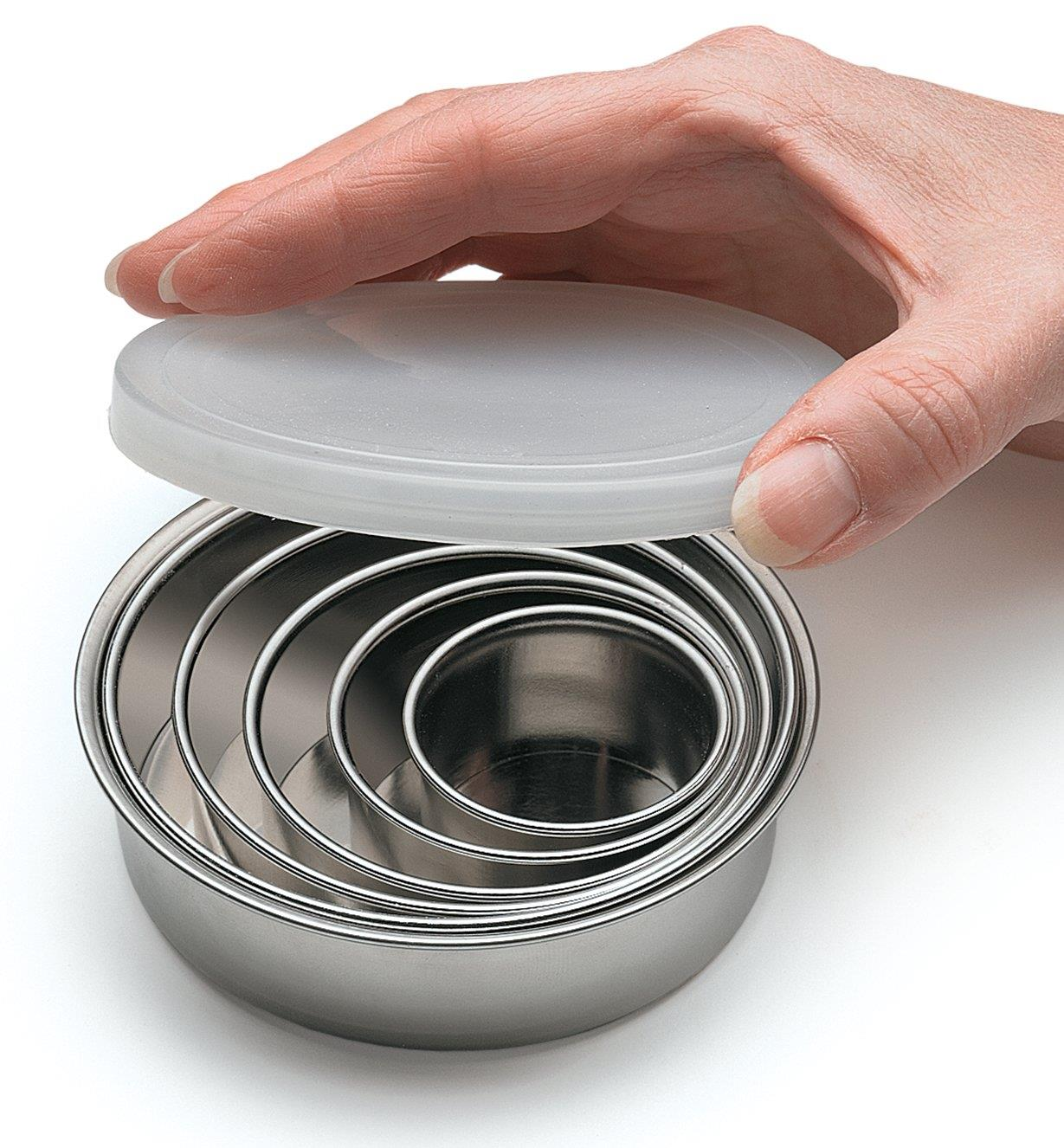 Stainless Steel Pastry Cutters nested in the included lidded bowl