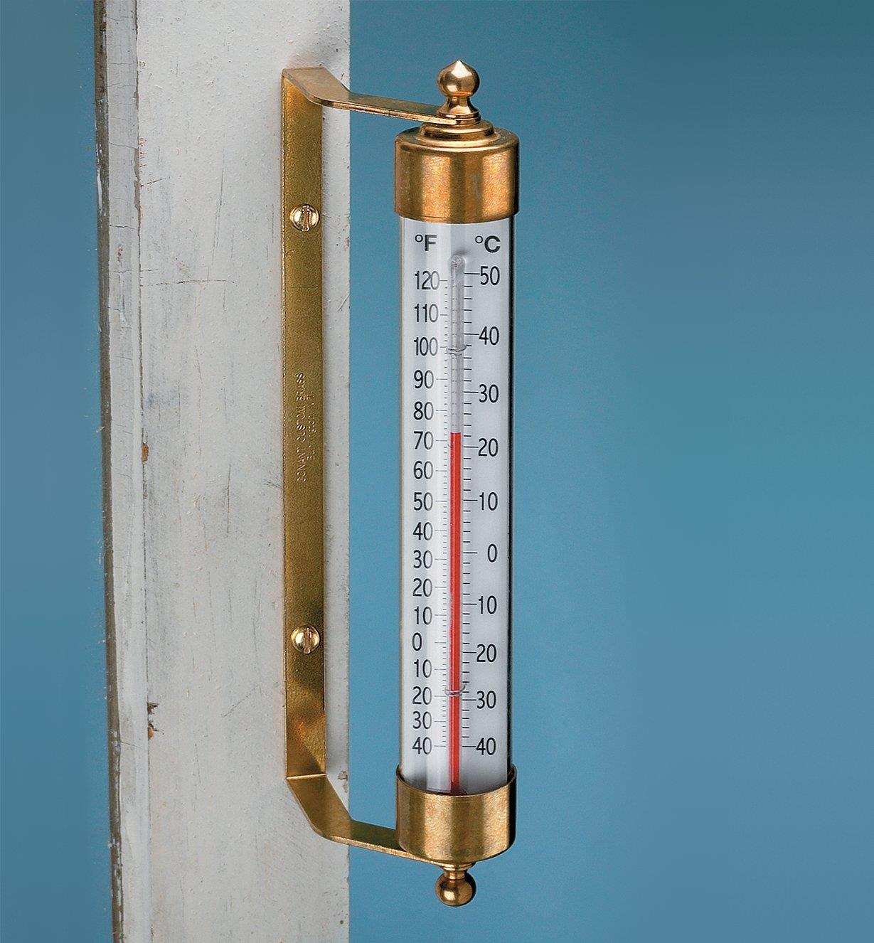 Solid Brass Thermometer mounted on a post