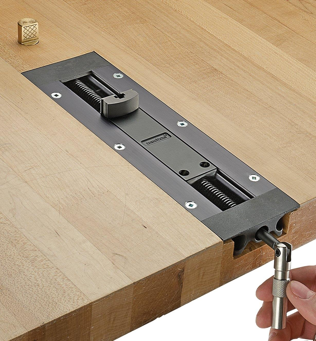 Inset vise installed in workbench