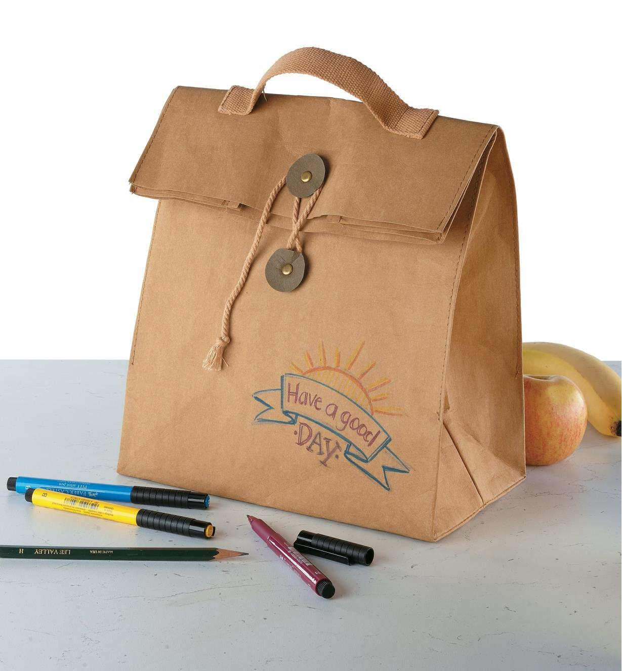 Tree Leather Lunch Bag decorated with markers