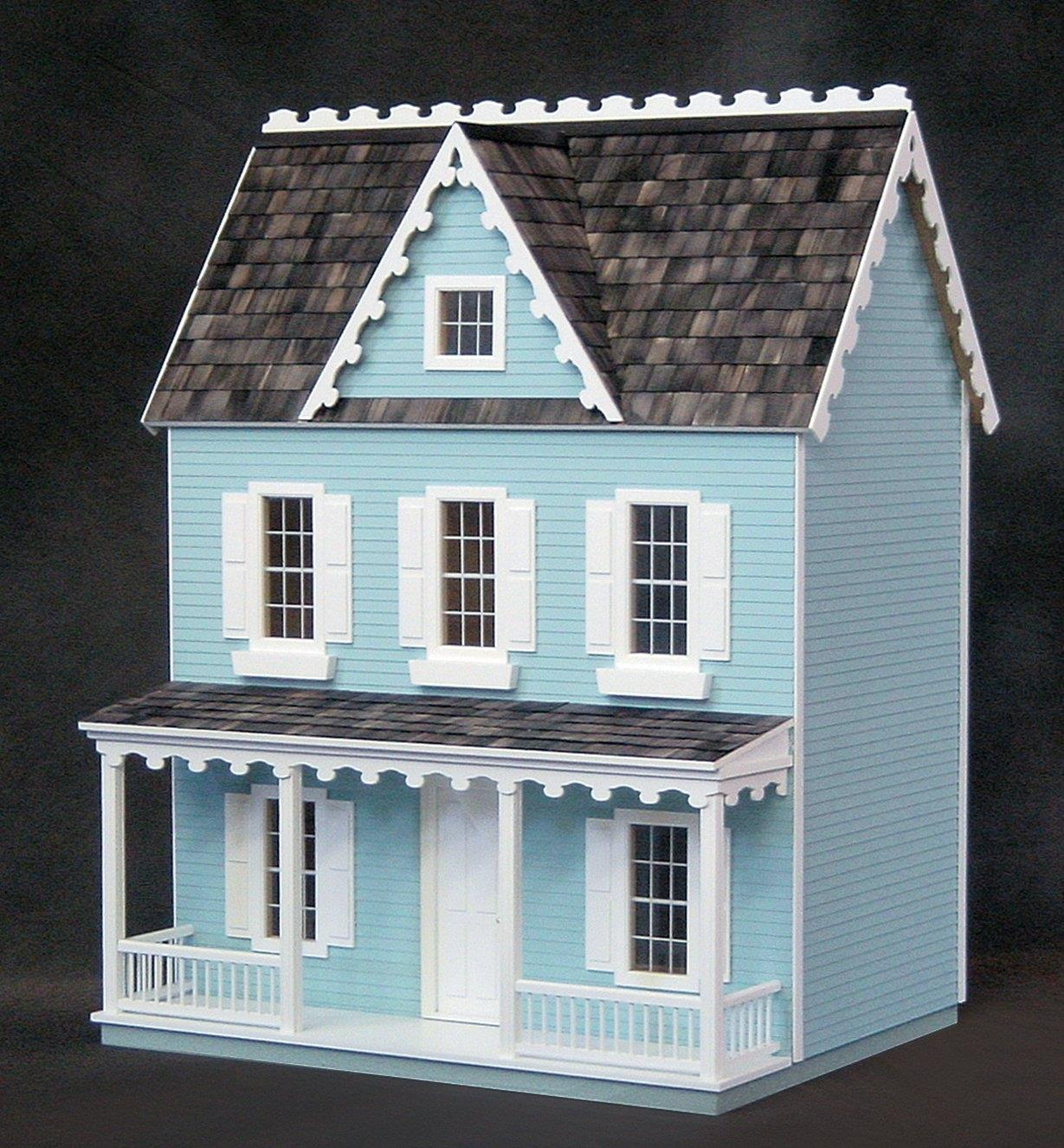 Front view of assembled and painted dollhouse