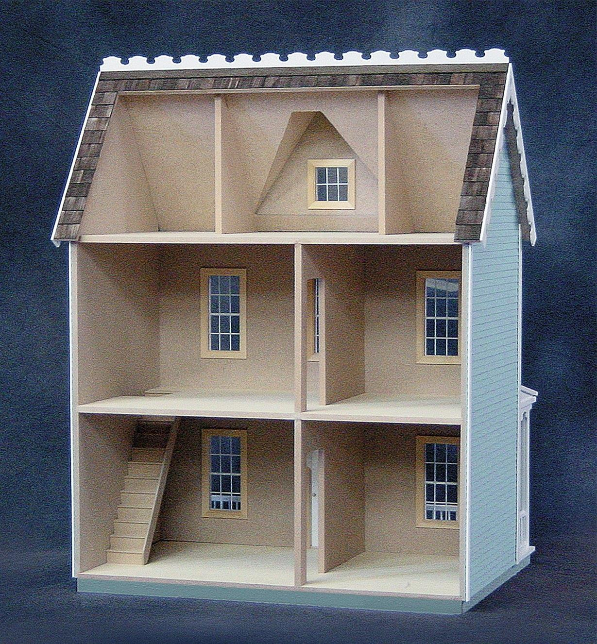 Back view of assembled dollhouse
