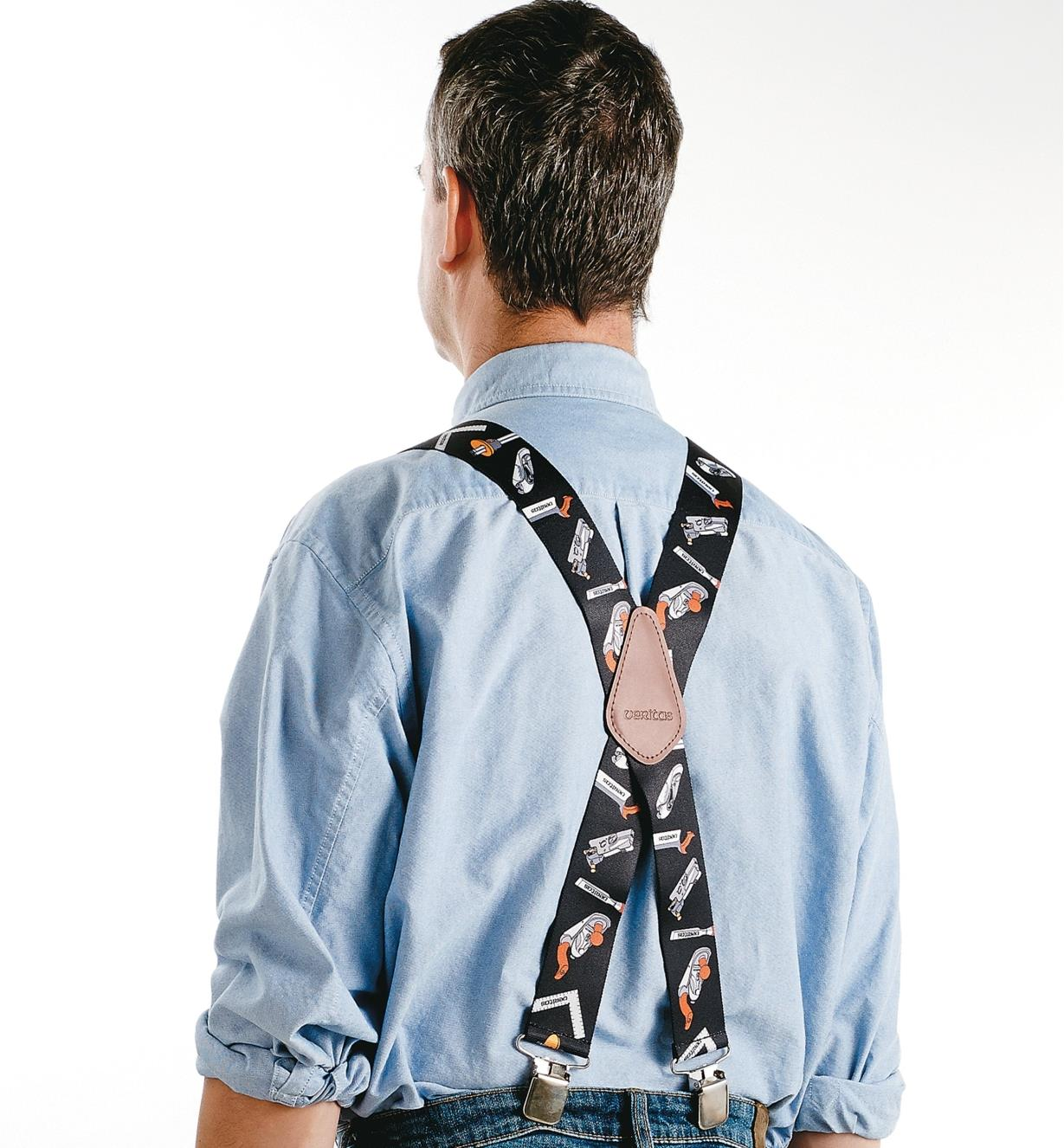 Back view of a man wearing Veritas Suspenders