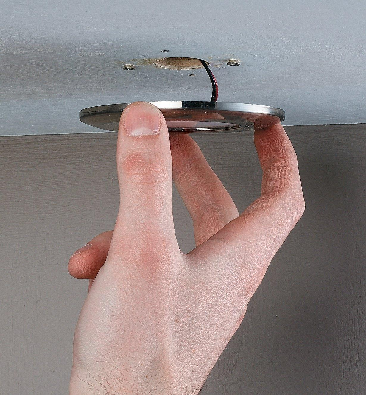 Installing a wafer light in a ceiling