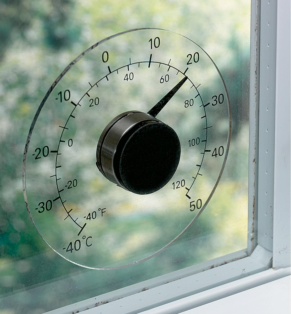 Window-Mount Thermometer attached to a windowpane
