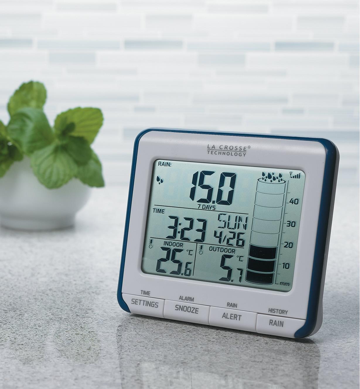 Wireless Rain Gauge display sitting on a counter