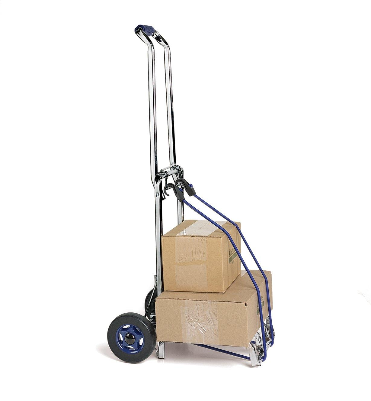 Ultimate Carryall cart loaded with cardboard boxes that are secured with a bungee cord