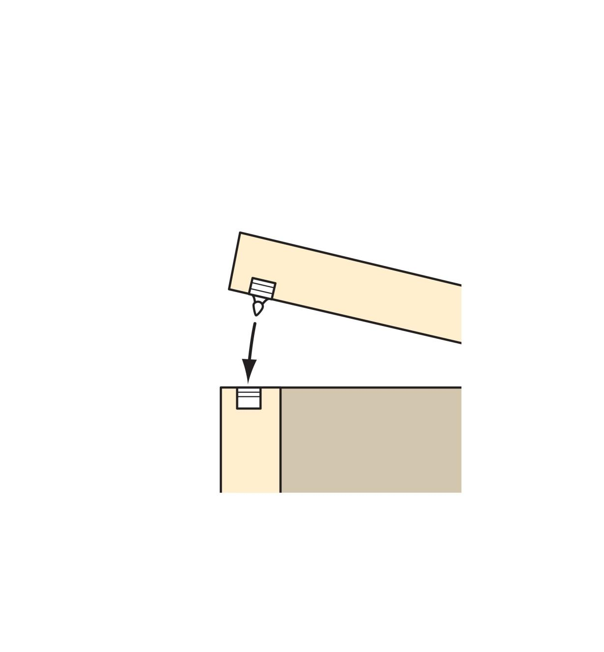 Illustration of a lid being closed using the Lid/Door Snap Closure