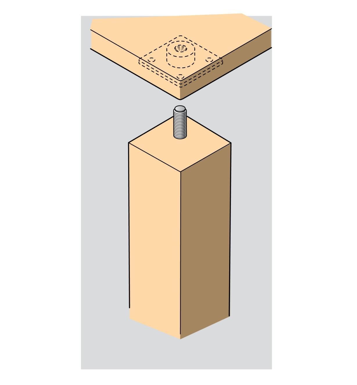 00H3350 - Plaques de fixation carrées pour pattes de meuble, le paquet de 4